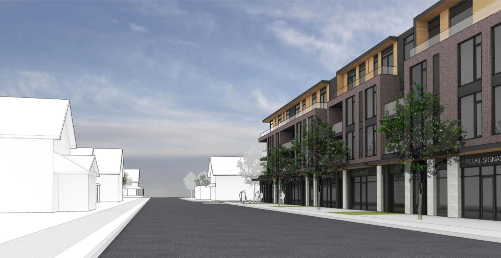 View of the proposed development looking north on Stittsville Main Street