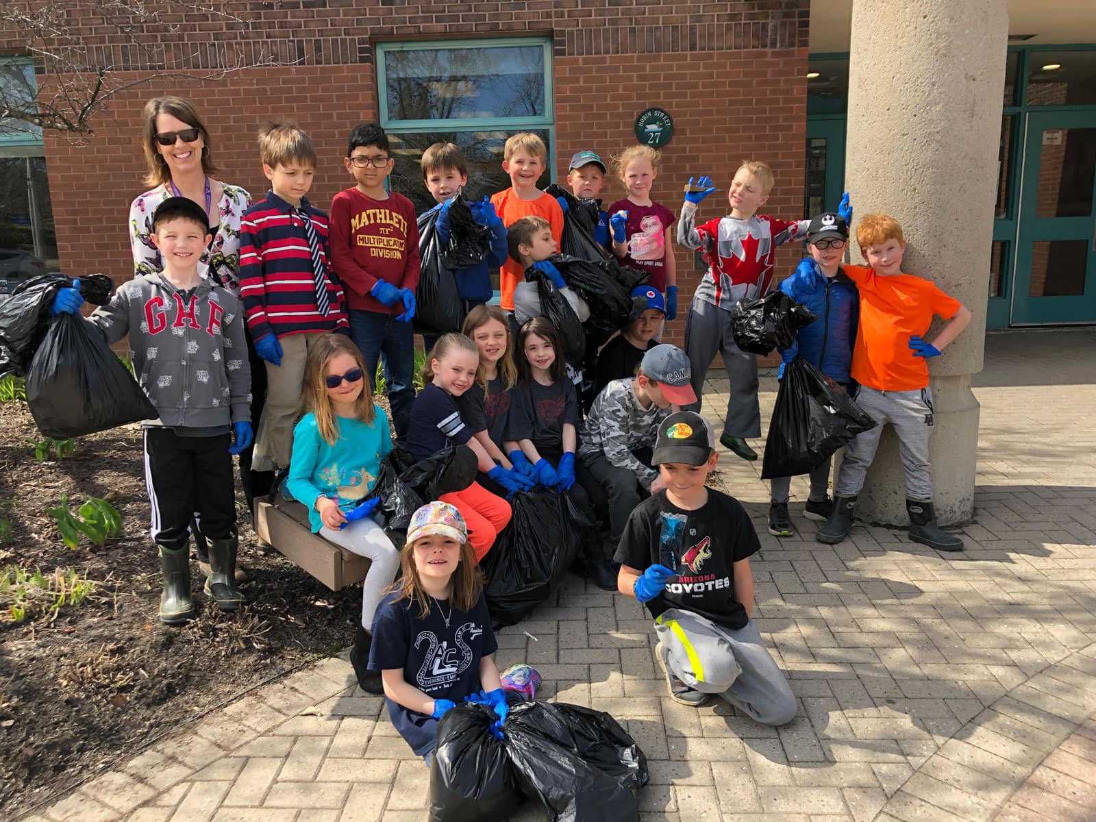 Mme. Charest's Grade 2 class at A. Lorne Cassidy school helped to clean up the school property.