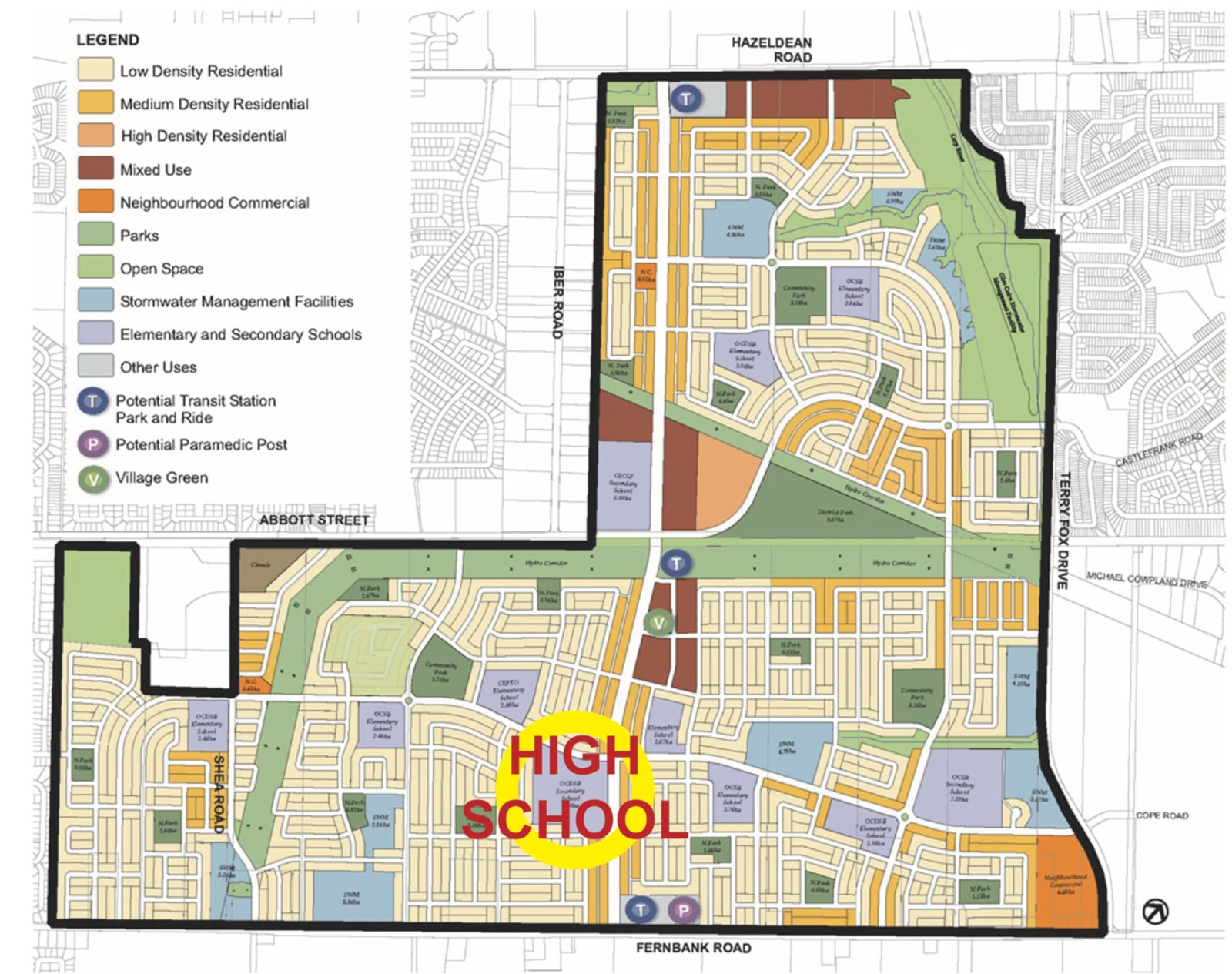 Location of the Public High School as shown in the Fernbank Community Design Plan from 2009.