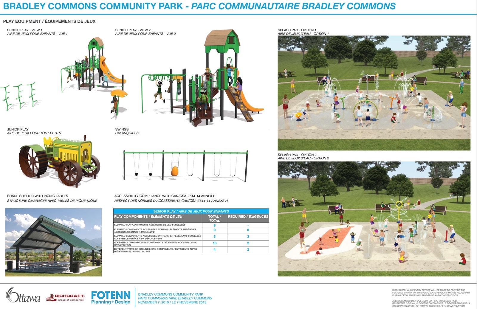 Bradley Commons Park playground options