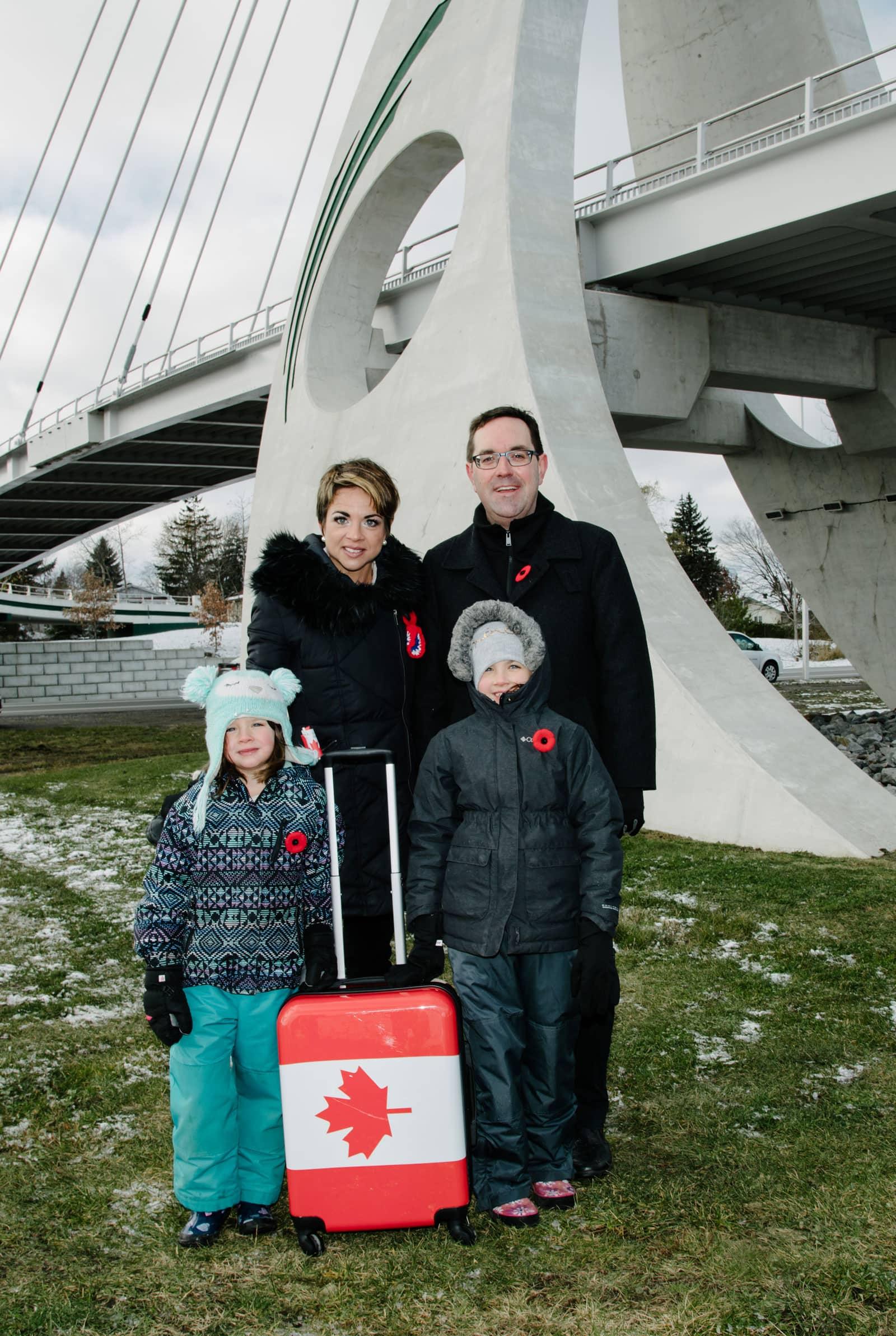Juno Beach Memorial Bridge - Councillor Glen Gower with Amanda Purdy and Family
