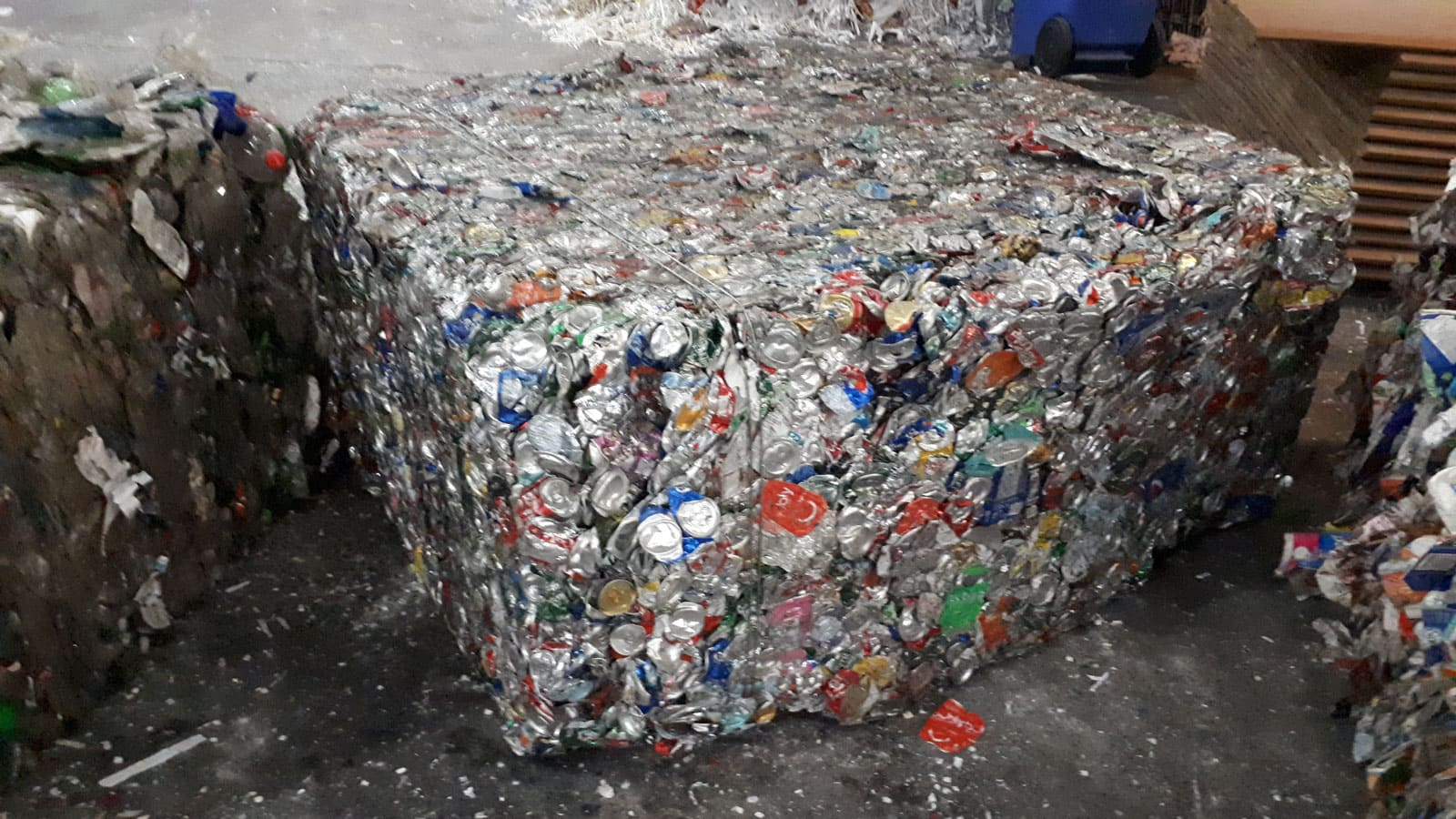 A compacted cube of aluminum pop cans currently fetches the highest price for recycled material.