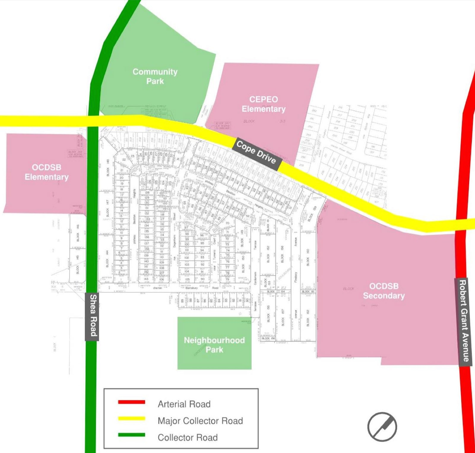 Draft Plan of Subdivision 2020 in Surrounding Context and OP Schedule E Overlay (Revision dated April 17, 2020; excerpt; Sources: Fernbank CDP, City of Ottawa OP)