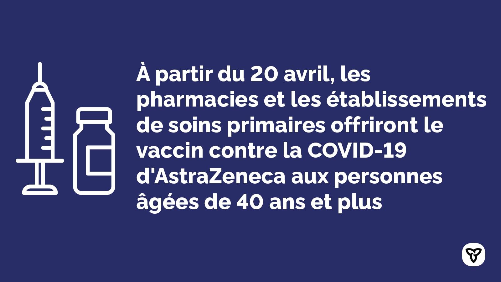À partir du 20 avril, les pharmacies et les établissements de soins primaries offriront le vaccin contra la COVID-19 d'AstraZeneca aux personnes âgées de 40 ans et plus