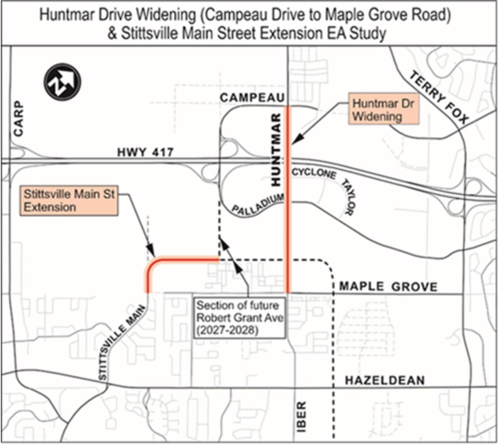 Map showing location of Stittsville Main and Huntmar being studied in the Environmental Assessment
